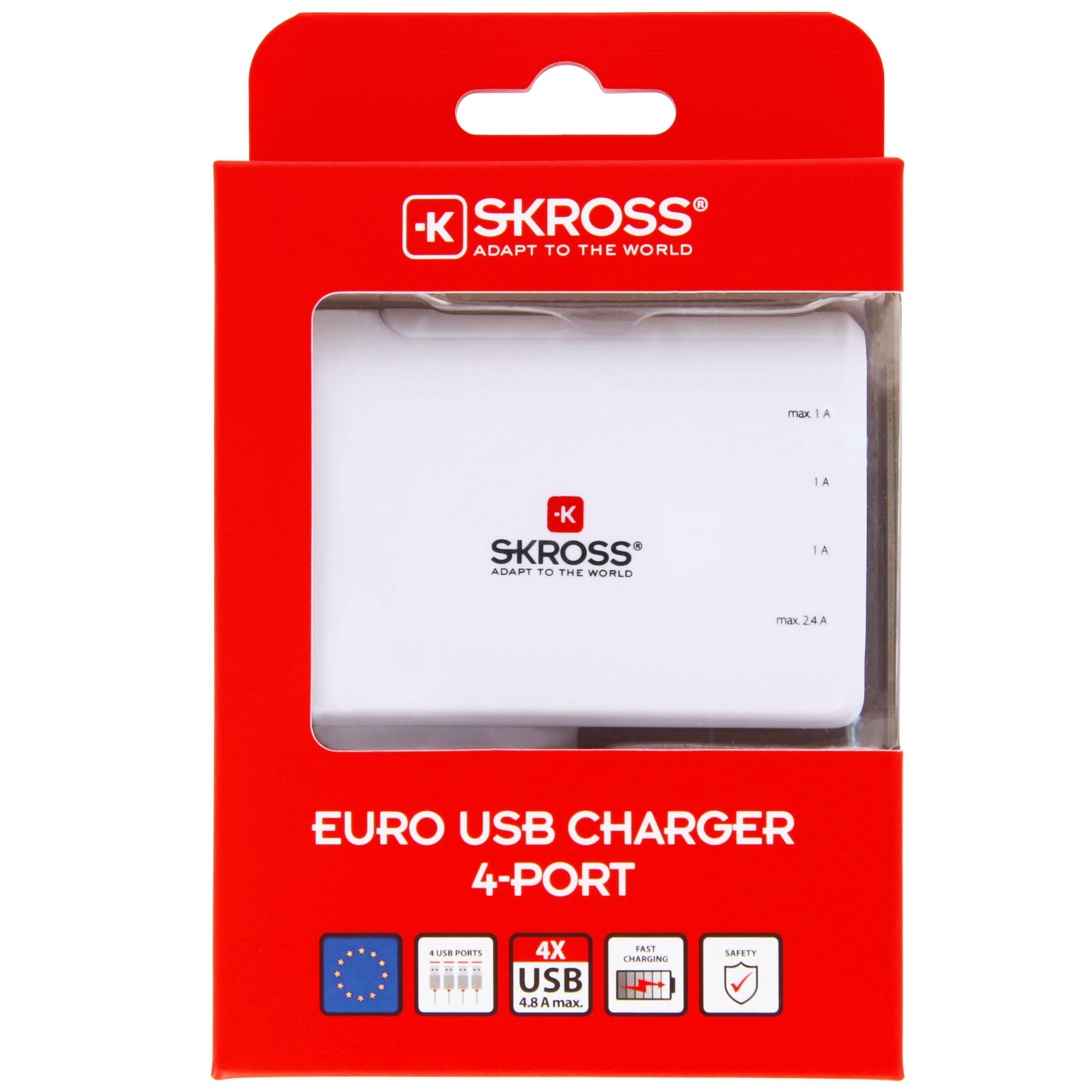 4 Port USB laddare EU