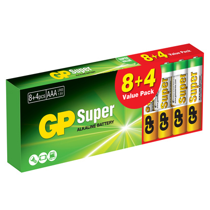 Super Alkaline AAA 8+4-pack