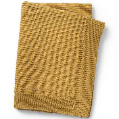Wool Knitted Blanket Gold